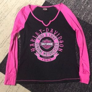 Harley-Davidson Pink and Black Top sz M